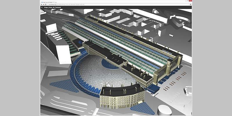 Eine neue Software ermöglicht es, komplexe Konstruktionsmodelle wie das des Londoner Bahnhofes King's Cross im Webbrowser darzustellen und Änderungen daran zu verwalten. Foto: Kristian Sons/Saar-Uni