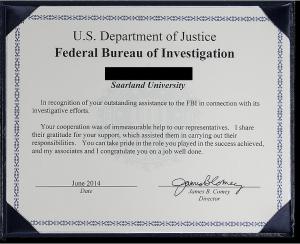 Das Federal Bureau of Investigation (FBI) verlieh einem Wissenschaftler der Saar-Uni einen Preis für seine Expertise und seinen Einsatz, mit denen er das FBI im Kampf gegen Botnetze unterstützte.