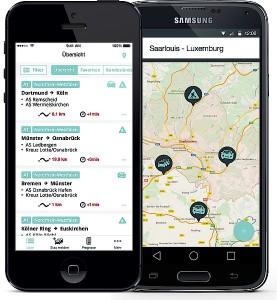 Die App der Saarbrücker Informatiker zeigt zeitnah alle aktuellen Staus auf Autobahnen und Bundesstraßen an und liefert auch Verkehrsprognosen. Fotos: Apptimists